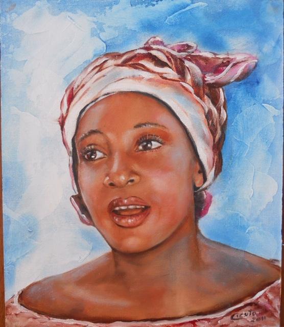 Ritratto n. 4 di donna togolese olio su cart. tel. 25x30 - 2011 -