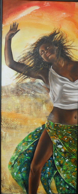 danza africana 3 tecnica mista olio su tela 50x100 2013 -